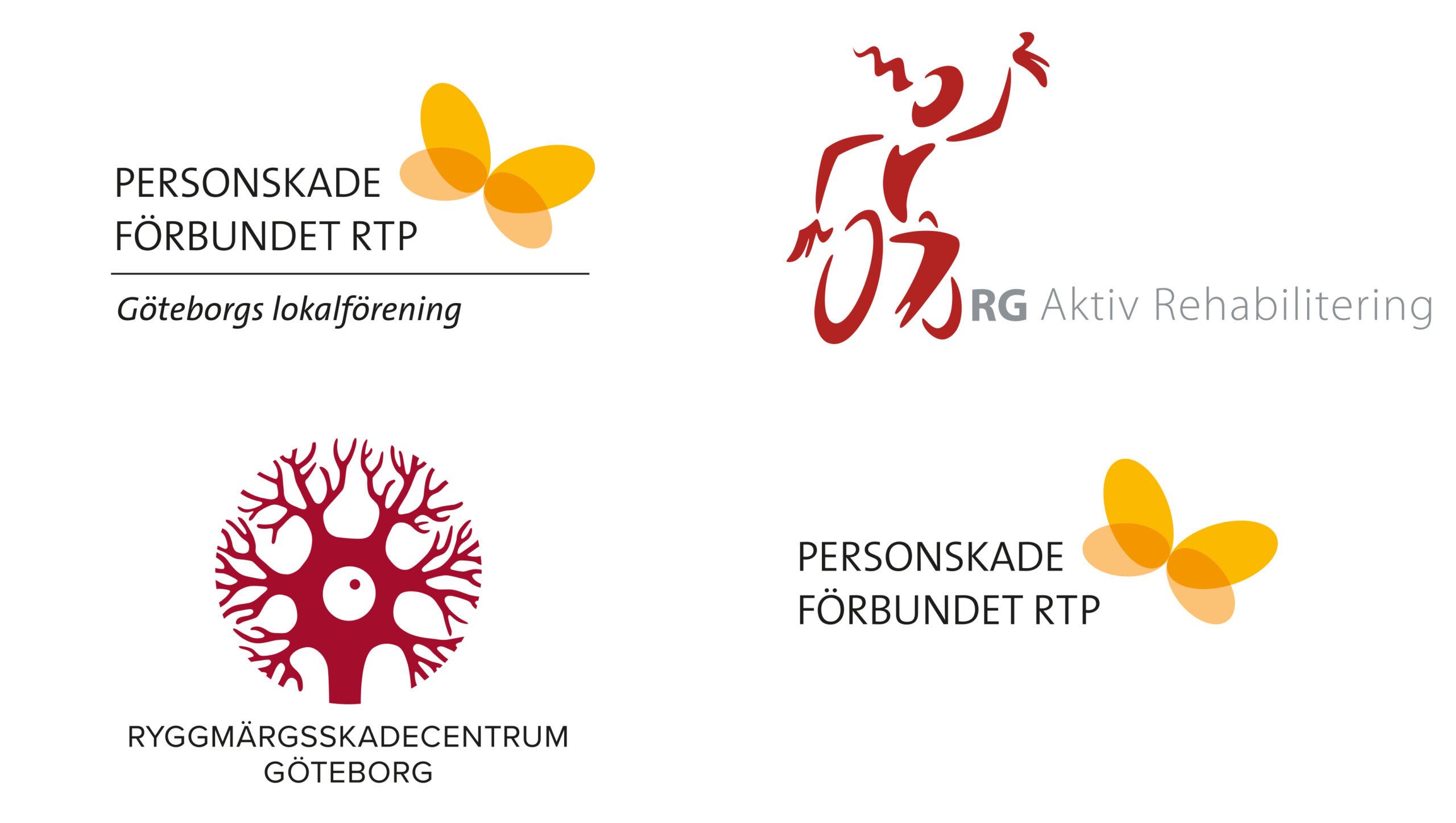 De fyra organisationernas loggor